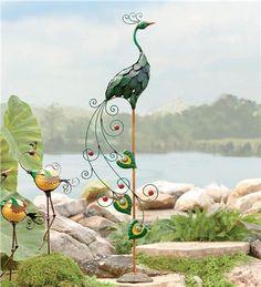 Peacock Garden Statue In Metal Yard Sculpture