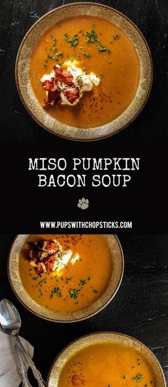 Creamy, sweet and savoury miso pumpkin bacon soup made with oven-roasted pumpkin, bacon and miso for that hint of umami flavour.