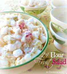 24 Hour Fruit Salad ~ The Ambrosia Recipe of the South {Granny's Recipe} pineapple chunks, fruit cocktail, mandarin oranges, peaches, marschinos, coconut, pecans, sour cream, marshmallows, whipped cream