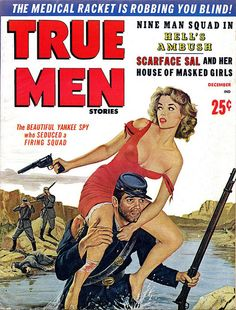 TRUE MEN STORIES, Dec. 1959. Cover by Wil Hulsey - www.MensPulpMags.com, via Flickr.