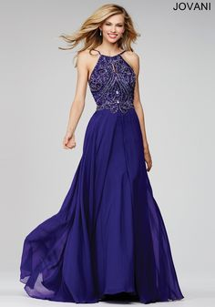 Gorgeous chiffon prom dress features a crystal embellished  bodice and keyhole opening (NOT IN THIS COLOR)