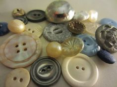 Vintage Buttons  shabby chic lot of 22 silver by pillowtalkswf, $12.25