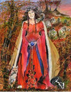 Banbha, sometimes written as Banba in English, daughter of Ernmas of the Tuatha D'e Danann, is the patron goddess of Ireland. Irish Mythology, Sacred Feminine, Divine Feminine, Celtic Goddess, Legends And Myths, Celtic Culture, Celtic Art, Gods And Goddesses, Mythical Creatures