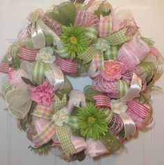 Green Daisy, Green Rose, and Pink Peony Wreath