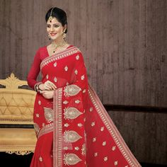 #Red Faux #ChiffonSaree with Blouse