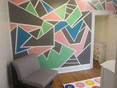 the accent wall in daughter new nursery, all done with painters tape all DIY
