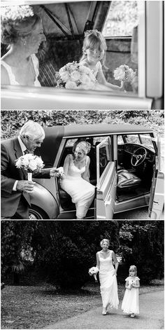Stunning bride and her flower girl arrive at St Mewan Church for her Knightor Winery Wedding