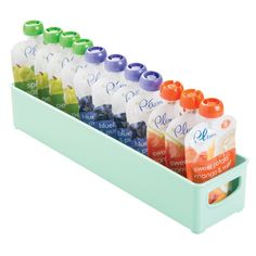 mDesign Baby Food Storage Organizer Bin for Bottles Food Pouches Sippy Cups 16 x 4 x 3 Light Mint Food Storage Organization, Baby Food Storage, Kids Storage, Plastic Storage, Storage Ideas, Nursery Storage, Storage Bins, Kitchen Storage, Storage Solutions