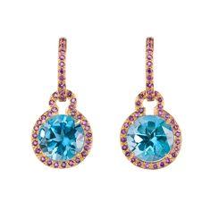 Peggy Stephaich Guinness Blue Topaz Drop Earrings with Amethyst. $7,150