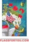 Custom Decor Flag - Patriotic Floral Decorative Flag at Garden House Flags Flag Decor, Art Decor, Memorial Day Flag, White And Blue Flowers, Red Geraniums, Butterfly House, Outdoor Flags, House Flags, Garden Flags