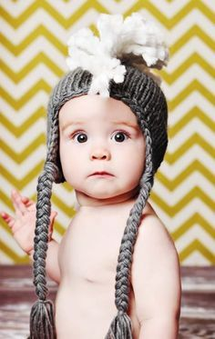 Grey Mohawk Hat - Ne     Grey Mohawk Hat - Need the hat and this baby!  YUM