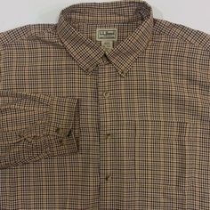 LL Bean Shirt Mens XLT Extra Large Tall Check 100% Cotton Button Front Brown #LLBean #ButtonFront #ArtieBobs #MensFashion
