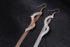 Statement-Charm-Geometric-Rhinestone-Tassel-Earrings-in-Silver-US-Seller