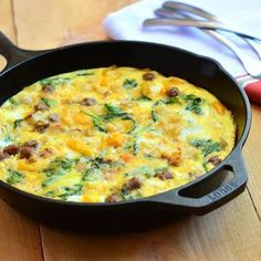 Sausage, Spinach, Peppers and Potato Fritatta - Fritattas are a real comfort food for me. Can't go wrong with meat, cheese, and spinach tucked inside the fluffiest eggs ever. Yum