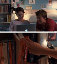 Hazel has a copy of Catching Fire and Mockingjay. Would have been funny if it was Dvergent