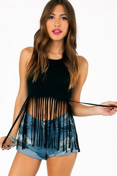 Cascading Crop Top. comes in teal, blue, and black. super cute to wear with shorts or skirt. find it  at www.tobi.com