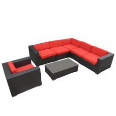 @Overstock - Perfect when entertaining or for everyday relaxation, this modular sofa set can be moved or adjusted in dozens of configurations. Move seats apart for separate chairs or put them together for intimate sofa seating.http://www.overstock.com/Home-Garden/Corona-Outdoor-Patio-Espresso-and-Red-7-Piece-Sectional-Sofa/6468055/product.html?CID=214117 $1,689.99