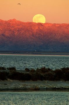 ✯ Moon rising over the Chocolate Mountains on the eastern side of Salton Sea, CA as the sun is setting on the western side