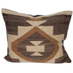 Fantastic Early Navajo Weaving Pillow | From a unique collection of antique and modern native american objects at https://www.1stdibs.com/furniture/folk-art/native-american-objects/
