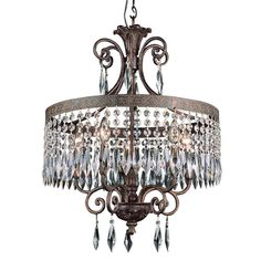 Dark Bronze Gold Five-Light Chandelier with Crystal Accents