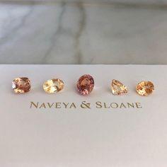 how amazing are these peach sapphire beauties, hand selected from over stones. Diamond Gemstone, Diamond Earrings, Stud Earrings, Naveya And Sloane, Friday Love, Peach Sapphire, Bespoke Jewellery, Bespoke Design, Jewelry Designer