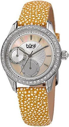 Burgi Women's Multi-Function Mother-of-Pearl Dial with Crystal Accented Bezel and Silver-Tone Case on Yellow Genuine Textured Leather Strap Watch BUR160YL