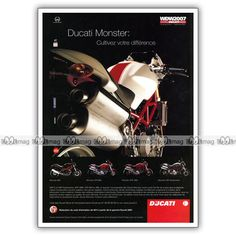 PUB DUCATI MONSTER S4R TESTRATETTA 695 S2R 800 1000 Ad Publicité Moto de 2007 #1 in Collections, Objets publicitaires, Publicités papier | eBay