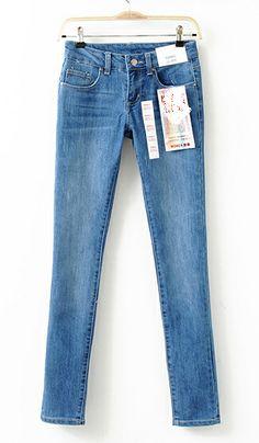 Blue stretch Slim casual jeans Light blue