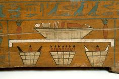 , Assiout, Egypt, Basket, Funerary, Middle Kingdom, Egypt (11th-12th dynasty), Painting, Medium, Sarcophagus, Wood