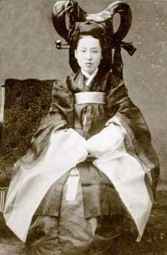 Empress Myeongseong (19 October 1851–8 October 1895), also known as Queen Min, was the first wife of King Gojong, the 26th king of the Joseon dynasty of Korea. At the age of 16 she was married to the 15 year old King. Instead of being the demure queen expected of her, she was assertive and ambitious. She gave up many of the royal functions, and instead read books reserved for men only, teaching herself philosophy, history, science, politics and religion.