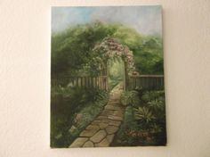 """Lush green and purple flower garden with stone pathway through a open wooden gate. Original oil painting 16"""" x20"""" sold unframed."""