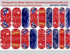 Custom Disney inspired Jamberry Nail wraps, Sorcerer Mickey, Fantasia. Join me on Facebook. facebook.com/groups/NASbyMisty or email me to order madams590@hotmail.com