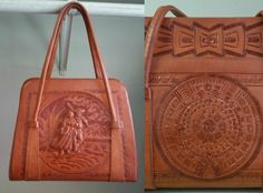 6ad6e09bbd 1970 s Tooled Leather Purse - Vintage 70 s Handbag - Mexican Bag - Bohemian  Style