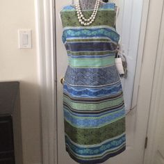 """"""" Chetta Nice Jacquard Linear Sheath Dress Soooo many compliments!!! Blue multi colorful dress very beautiful in person can be worn anywhere sz 10 !!!! Bought from Lord and Taylor worn once , sold in Nordstrom - from shoulder to hem dress 38' length, last pic different color but same dress dif. color Dresses"""