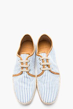 N.D.C. MADE BY HAND White & Blue Striped Maxim Rayas 40 Espadrille Shoes