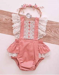 Cute Baby Girl Outfits, Baby Girl Romper, Cute Outfits For Kids, Cute Baby Clothes, Baby & Toddler Clothing, Little Girl Dresses, My Baby Girl, Baby Dress, Toddler Swag