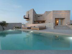Dream Home Design, Modern House Design, Greece Design, Cement Design, Beautiful Villas, Villa Design, Luxury Villa, Exterior Design, Future House
