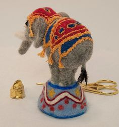 Circus Elephant Needle Felted Pincushion. Made by BackStitchChicks