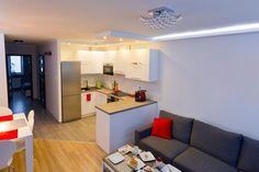 Znalezione obrazy dla zapytania jak urządzić salon z aneksem kuchennym 20m2
