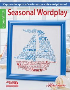 Capture the spirit of each season with playful word pictures in cross stitch! Seasonal Wordplay features four designs by Ursula Michael: Blooming Flower, Come Sail Away, Autumn Thanks, and Winter Snow Day. Within each design, the shape is created with clo Cross Stitch Books, Cross Stitch Patterns, Blackwork, Spring Blooming Flowers, Word Pictures, Word Play, Monochrom, Flower Shape, Pattern Books