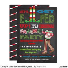 Let's get Elfed up Chrismas Pajama Party Card Christmas Pajama Party, Christmas Party Themes, Christmas Party Invitations, Christmas Pajamas, Xmas Party, Holiday Fun, Pj Party, Christmas Ideas, Christmas Party Games For Adults