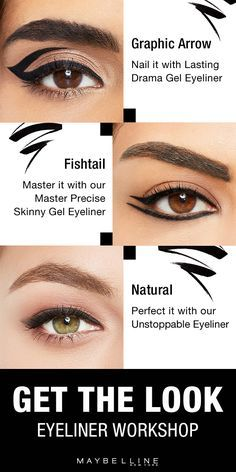 Looking for eyeliner inspiration? This get the look guide shows you looks ranging from graphic to fishtail to natural. Explore new looks and learn how to up your liner game with Maybelline's video tutorials, liner info and tips, tricks and hacks for makeup beginners. Whether you want sleek and straight, smokey and smudged or your own personal twist on all of the above, the Maybelline Liner Gallery has something for everyone.