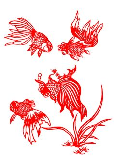 Chinese Papercut Art - Gold Fish by Kang Zhan Jie