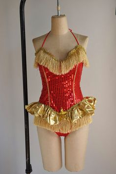 Vintage rare showgirl costume - red and gold sequin plus size dance costume, via Etsy.