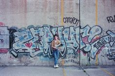 Here is a great throwback photo of New York graffiti staple, Zephyr posing with a boombox net to his piece.