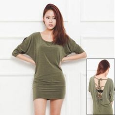 Casual and Sexy Style Scoop Neck Bat Three Quarter Sleeves Backless Solid Color Dress For Women (GREEN,FREE SIZE) $8.47 fun & casual