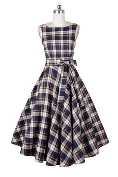 1410171- 1950s pinup vintage rockabilly hepburn tartan dress