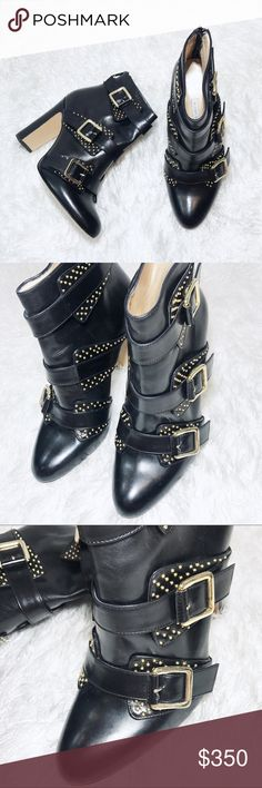 Bionda Castana Italian Black Ankle Boots $825 These boots are AMAZING!! Fine handcrafted Italian leather with buckles & tiny gold studs. There is minor wear of the sole & a few faint scuffs (price reflects this), however in overall excellent condition! 4in heel & according to designer they run true to size, I would say they could fit a 7.5/8. I'm not a size expert so please be aware that this is European sizing. No trades or modeling, offers always welcomed! Bionda Castana Shoes Ankle Boots…