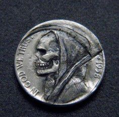 Reaper coin - image of death (grim reaper) and a syythe - representing hell