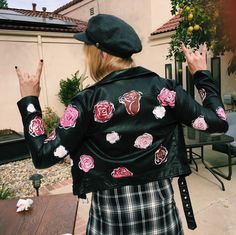 Custom painted leather jacket. Follow @artbyvanni on insta Rydel Lynch